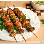 Shish Taouk ( Lebanese Chicken Kebabs) with Baba Ghannouj (Eggplant Dip)