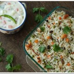Vegetable biriyani with Green apple raita