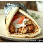 Chicken Gyros with Tzatziki Sauce (Greek yoghurt and cucumber dip)