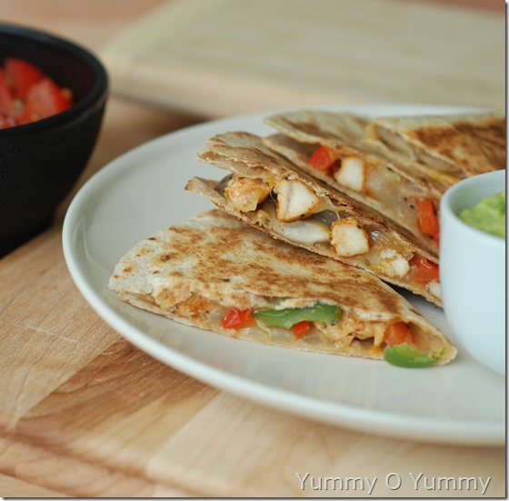 Chicken and veggie quesadilla