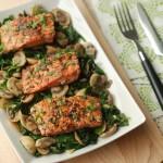 Salmon with Sautéed Mushroom & Spinach