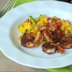 Spicy seared shrimp with fresh mango salsa