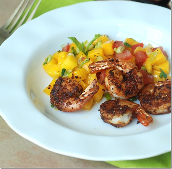 Spicy seared  shrimp with mango salsa