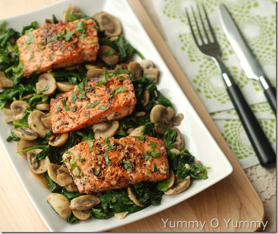 Salmon with sauteed spinach and mushrooms
