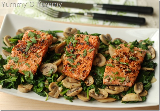 Pan-fried Salmon with sauteed spinach and mushrooms