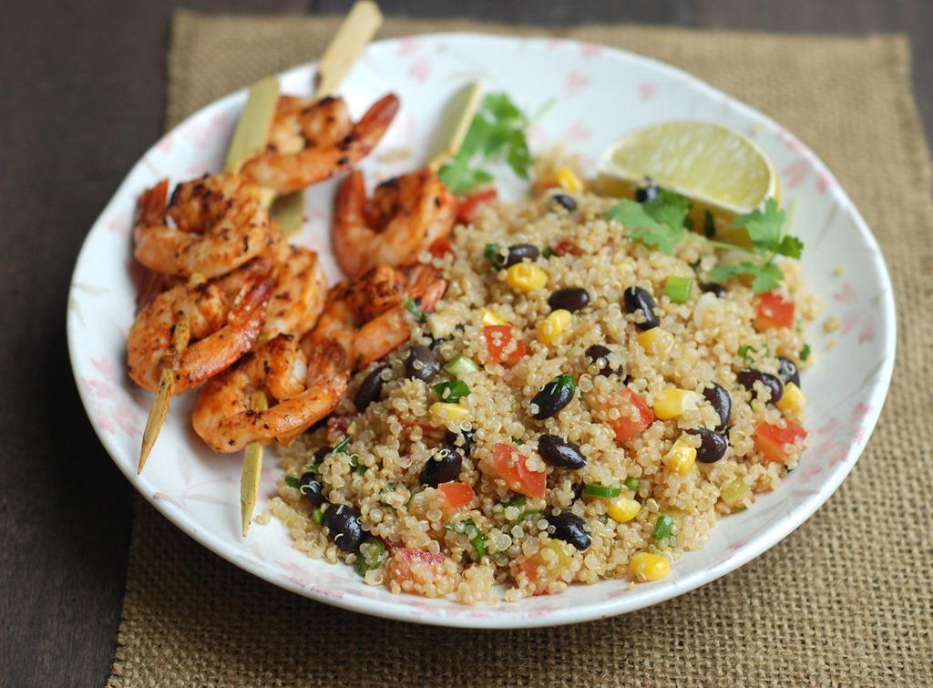 Quinoa Salad With Spicy Grilled Shrimp