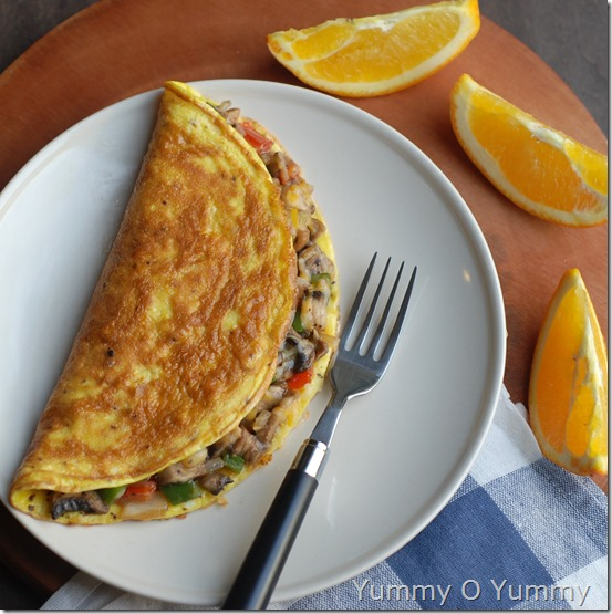 Stuffed veggie and cheese omlette