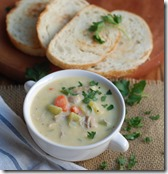 Creamy chicken and veg soup