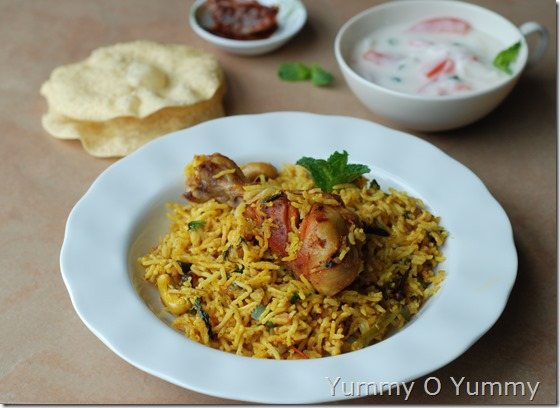 Pressure-cooker chicken biriyani