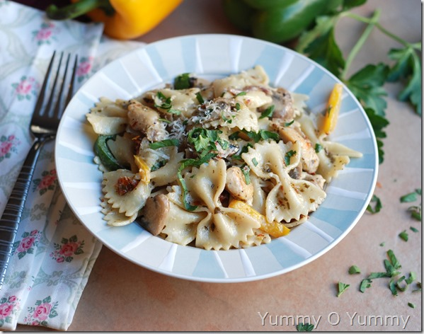 Chicken and vegetables in a creamy pesto sauce