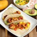 Shrimp tacos with Mango and Avocado Salsa