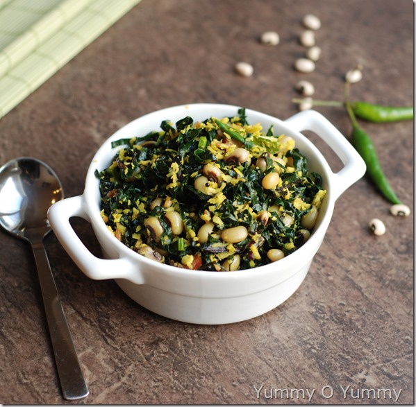 Kale and black eyed pea thoran