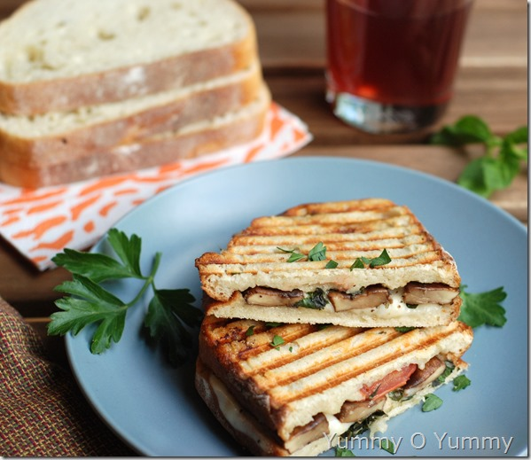 Portobello mushroom and fresh mozzarella cheese sandwich