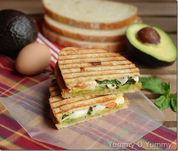 Avocado, egg and mozzarella sandwich