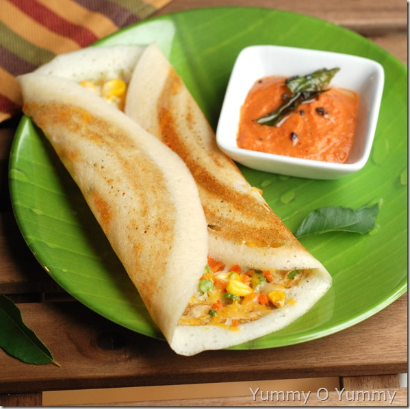 Cheese vegetable dosa