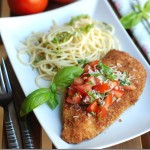 Homemade Chicken Parmesan Cutlets with Tomato Basil Topping