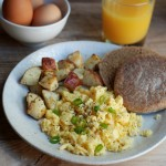 Scrambled eggs with roasted red potatoes