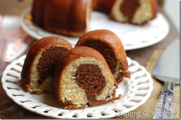 Mocha walnut marbled bundt cake