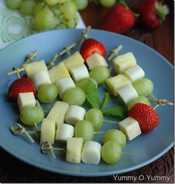 Fruit and cheese skewers