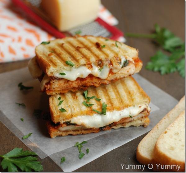 Chicken parmesan panini sandwich