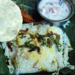 Chemmeen Kizhi Biriyani with restaurant style raita