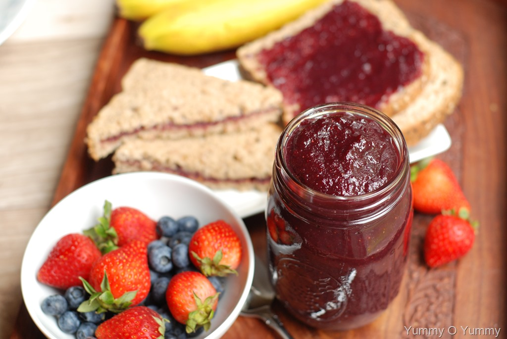 Mixed fruit jam Jam without boiling easy made flavorful