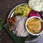 Kerala Lunch Menu # 1 –  Potato Thoran, Netholi Thengapal Curry and Beetroot Raita (With Video)